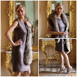 Małgorzata Miłosz - New Look Fur Stole, Deezee Grey Heels, Kappahl Metallic Dress - New Year's Eve outfit