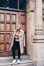 Viviane Lenders - Edited The Label Camel Coat, H&M Camel Knit, Topshop Jeans, Adidas Sneakers - Blending In - Camel Shades
