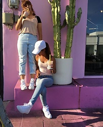 PoppinBlvd - Love Culture White Hat, Old Navy Demi Jeans, Forever 21 Pink Spaghetti, Forever 21 Pink Spaghetti, Pacsun Mom Jeans, Converse - Pretty in Pink