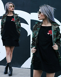 Catherine pham - Miss Pap Rose Short Dress, Lola Shoetique Pleather Booties, Army Jacket, Zerouv Sunglasses - Hidden rose