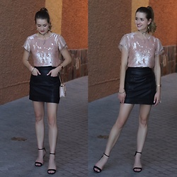 Heidi Landford - Aje Sequinned T Shirt, Aje Black Leather Mini Skirt, Forever New Black Barely There Heeled Sandals, Mimco Nude And Rose Gold Excalamtion Hip Bag, Mimco Silver Bangles, Amber Sceats Black Leather Choker, Mimco Rose Gold Watch, Najo Rose Gold Teardrop Earrings - Au Revoir 2016