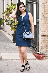 Amanda R. - Louis Vuitton Alma Bb Bag In Denim, Bimba & Lola Dress, Local Store Wedges - Minimal blue dress