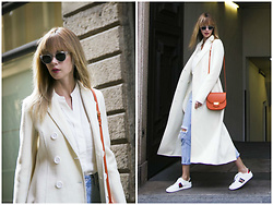 Anastasiia Masiutkina - Celine Coat, H&M Jeans, Gucci Sneakers, Celine Bag - White Wanted!
