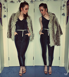 Victoria P - Quiz Jumpsuit, Boohoo Shoes, Miss Selfridge Faux Fur Jacket - Goodbye 2016