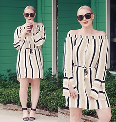 Ashleigh McCallum - Faithfull The Brand Retro Stripes Naumi Dress - The Off The Shoulder Dress You NEED