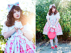 Elodie De Frise - Infanta Strawberry Kitchen In Sax, Loris Heart Bag, Infanta Strawberry Kitchen Matching Tights, Infanta White Blouse - But was he yours if he wanted me so bad ?