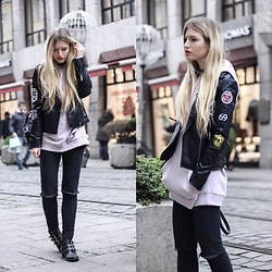 Franziska Elea - Loavies Leather Jacket, Monki Hoodie, Primark Jeans, Bronx Boots - Hoodie & Patches Leather Jacke