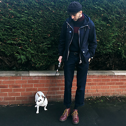 David Whitfield - Nigel Cabourn Parka, Fred Perry Nigel Cabourn Roll Neck Fisherman, Dickies, Dr. Martens Church Boots, Gucci Dog - Doggo