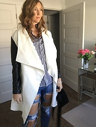 Cindy Batchelor - Acevog White Coat With Black Sleeves, Glostory Distressed Denim, Avngs Blue Striped Button Down - White coat with Black Sleeves, Striped shirt, and Distressed