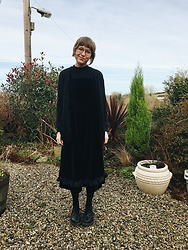 Toni Caroline - Cos Cardigan, Uniqlo High Neck Top, Alexa Chung For M&S Black Velvet Dress, Dr Martens - 2017