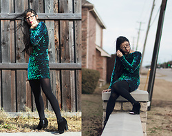 Jennifer S - Motel Sequin Dress, Asos Tights, Nasty Gal Heels, Perry Ellis Glasses - Holiday Vibes