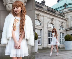 Julia Loewenherz - Faux Fur Vintage Jacket, Missguided Mesh Peep Toe Heeled Boots White, Missguided Kayte Sequin Mesh Dress In Cream - HappyNewYear Lookbookers ◕‿ ◕♡☘!