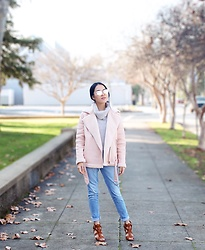 See Yang - Sojos Sj1001 Cat Eye Mirrored Flat Lenses Street Fashion Metal Frame, Forever 21 Pink Biker Jacket, Target Light Blue Boyfriend's Jeans, Ross Dress For Less Brown Heels - Pastel in winter
