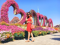 Ronah - Pleated Red Halter Dress, Charles & Keith City Hand Bag - Dubai Winter at Miracle Garden