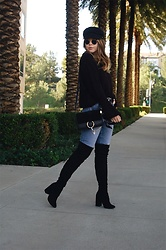 Taylor Smith - Brixton Hat, Zaful Sweater, Chloe Faye Bag, Tularosa Jeans, Steve Madden Over The Knee Boots - Bell Sleeves and Over the Knee Boots