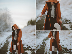 Mandee Rae - Bonders Faux Fur Lined Jacket, Free People Knee High Fp Socks - Little Red Riding Hood