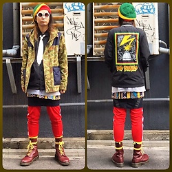 @KiD - Bob Marley Rasta Tam, Obey Bad Brains, Insight Camouflage Parka, Hussein Chalayan Denim Mini Skirts, Adidas Truck Punts, Dr. Martens Oi Of Japan Boots - Japanese Trash 85