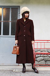 Ping Chiu Armando - Brown Coat, Leather Handbag - Brown