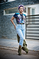 Nilu Yuleena Thapa - Gucci Double G Belt, Quiz Clothing Olive Suede Ankle Boots, Forever 21 Star Wars Casual Top - Mom Jeans