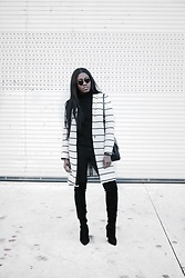 Demi W. - Mango Cotton Striped Coat, Public Desire Over The Knee Boots - Cotton Striped Coat