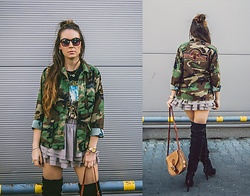 Iwona - Dsm Jacket, H&M Skirt, Vintage Bag - MILITARY