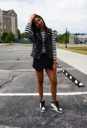 Angelina D'Souza - H&M Over The Shoulder Top, Zara Leather Vest, Zara Skort, Kohl's Sneakers - Motif