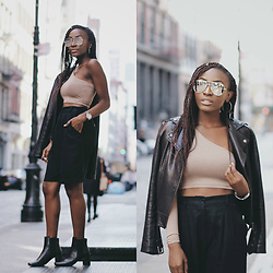 Nkenge Brown - Na Kd Off Shoulder Top, Zara Booties, Quay Mirror Glasses, Mackage Leather Jacket - NA-KD
