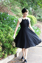 Kayla J - Unique Vintage Black & Ivory Lace 1940s Swing Dress, Unique Vintage Pill Box Hat - 1940s Lace