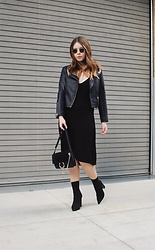 Taylor Smith - Topshop Leather Jacket, Reformation Dress, Chloé Chloe Faye Bag, Tony Bianco Boots - All Black and a Bandana