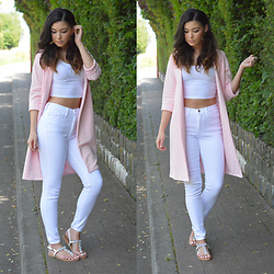 Raspberry Jam - Asos Crop Top, Fashion Nova High Waist Jeans, Boohoo Pink Duster, Primark Sandals - Pink Duster