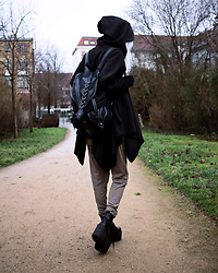 Kimi Peri - Restyle Dragon Backpack, Vii & Co. Vegan Platform Boots, Grey Beanie, Necessary Evil Gothalyptic Jupiter Poncho, Zara Pants - The Girl With The Dragon Backpack