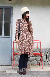 Ping Chiu Armando - Fairy Farm Factory Faux Fur Hat, Fairy Farm Factory Floral Dress, Monki Denim Jeans - Color of January