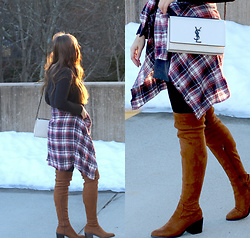 Holly Benjamin - Forever 21 Over The Knee Boots, Saint Laurent Handbag, Current/Elliott Flannel - NEW YEAR | WRAP SKIRT & FLANNEL