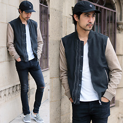 Michael - Stussy Baseball Cap, All Saints Suede Jacket, H&M Skinny Jean, Vans Slip On - Suedehead