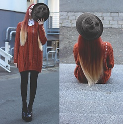 Liza LaBoheme - Skull Hat, Rust Colored Knit Sweater - My hat is watching you