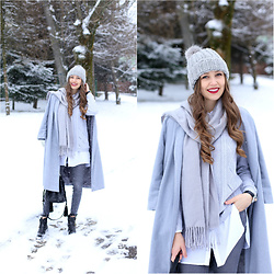 Natalia Przała - Venezia Black Boots, Zara Black Bag, H&M Grey Cap, Sheinside Grey Coat - Winter wonderland