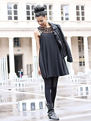 Caetera Moda - Camaieu Pleated Dress, Redskin Leather Perfecto, Jonak Biker Boots - MRS TSONGA