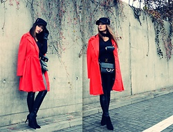 Porcelanna - Gamiss Coat, Zaful Choker Sweater, Gamiss Bag, Gamiss Hat, Calzedonia Leather Pants/Leggins, Czasnabuty Ankle Boots, Ochnik Gloves, Louis Vuitton Belt - All Black & a Touch of Red
