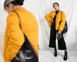 Doris Dave - Pull & Bear Puffer Jacket, Empress Of Tote Bage, Bershka Culottes, Urban Outfitters Chelsea Boots, &Otherstories Striped Beanie - Orange & Fruity