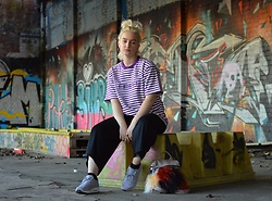 Ellie Fowler - Basement Striped Tee, Boohoo Ribbed Culottes, Nike Air Max 1 Premium, Lamoda Fur Bag - Basement