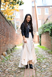 Kimberly Kong - Asos Ruffled Maxi Skirt, Jwholesale Statement Necklace, Ann Taylor Faux Leather Moto Jacket, Aldo Mules - Cute Alleyways in Georgetown