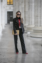 Lauren Recchia - Rebecca Minkoff Clutch, Bcbg Trousers, Intermix Blazer, Topshop Sweater - All Ablaze