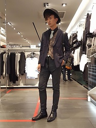 Eragon 莊 - Korealine Straight Stripe Double Breasted Suit, Vanger Chelsea Boots - Today style 17/ 0106