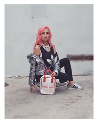 Stephanie Gold - Zara Silver Puffer, Topshopxadidas Adidas Superstars, Dolls Kill Fuck You Store Bag, Dolls Kill White Studded Harness, Adidas 3 Stripe Berlin Legging - Vibes.