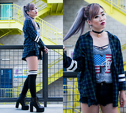 Caitlinaomi - Glasses, Sevens Choker, Forever 21 Flannel, Aeropostale Knee High Socks, Aliexpress Heeled Boot Platforms - Flannel Lovin'