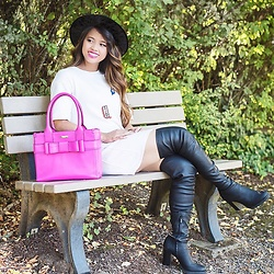Melany - Calvin Klein Thigh High Boots, Zara Patches Dress, Kate Spade Handbag - Sittin' Around