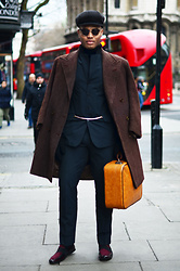 Omiri Thomas - Vintage New Boy Cap, Topman Turtle Neck, Hugo Boss Jacket, Ralph Lauren Vintage Suit, Vintage Bag, Asos Loafers, H&M Gloves - B I S O N