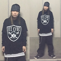 @KiD - Ice Cube Tee, Suicidal Tendencies Bandanna, Cheap Monday Super Loose Pants, Adidas By Jeremy Scott - Japanese Trash 87