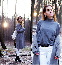 PASHIOON - H&M Wedges, Cubus Grey Coat, Lindex White Ripped Pants - Lost in forest..