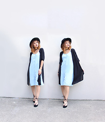 Leanne A - Buffalo Exchange Maxi Button Down Dress, Aldo Lace Up Black Heel Shoes, H&M Black Cardigan - Witchy